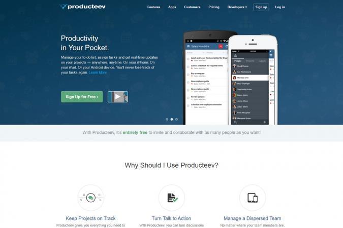 Screenshot of Producteev website