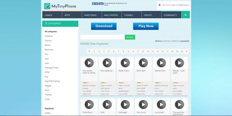 Screenshot of MyTinyPhone website