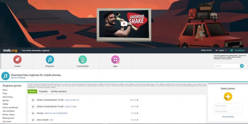 Screenshot of Mob.org website
