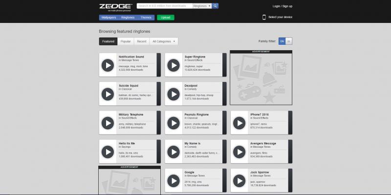 Screenshot of Zedge website