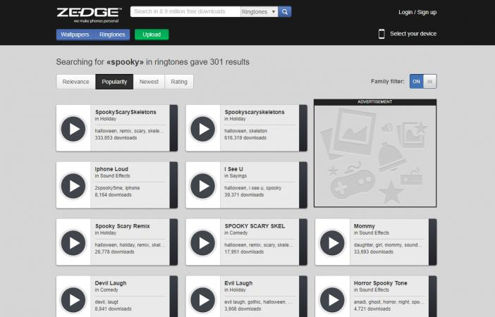 Screenshot of Zedge