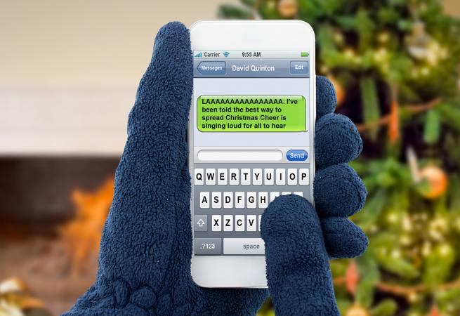 smartphone with xmas message