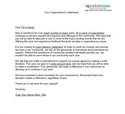 Samples Of Non Profit Fundraising Letters Lovetoknow
