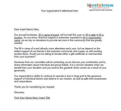 Samples of Non Profit Fundraising Letters – Donations Template