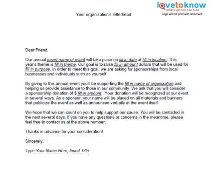 Samples of Non Profit Fundraising Letters – Application for Sponsorship Template
