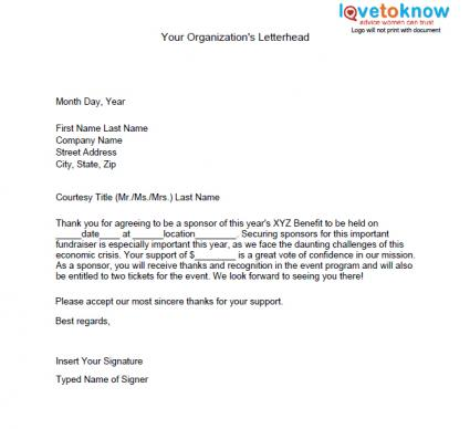 Samples of Non Profit Fundraising Letters – Template Letter for Sponsorship