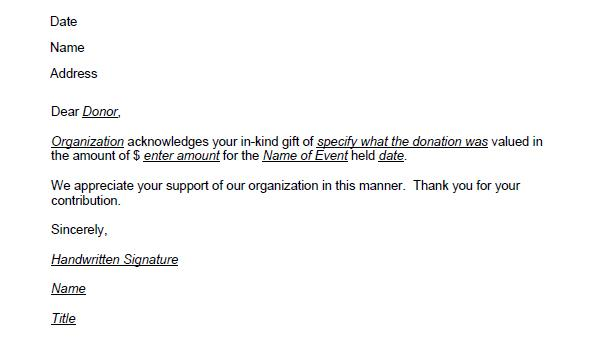 in kind donation thank you letter template