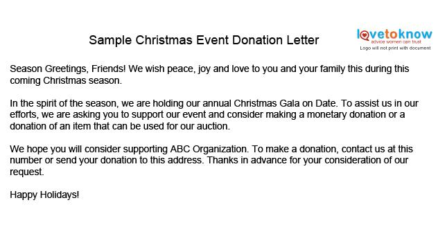 Christmas Party Donation Thank You Letter Template | Search Results ...