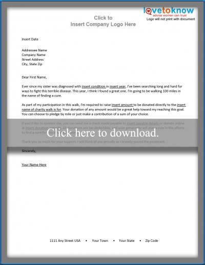 Sample Personal Sponsorship Request Letter Template for Free