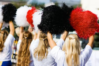 Cheerleaders with poms