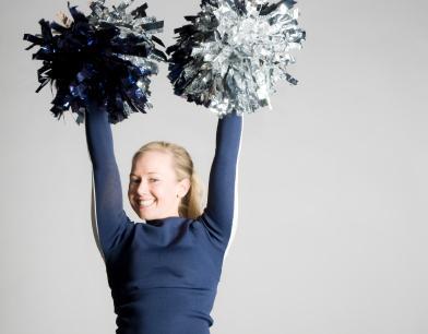 Cheerleader in blue