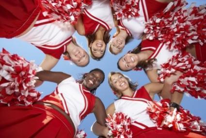 cheerleaders looking down