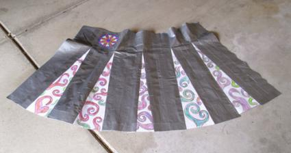Duct tape cheerleader skirt