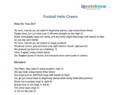 football hello cheers printable