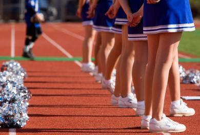 Row of cheerleaders