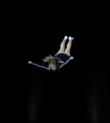 Girl flying through the air