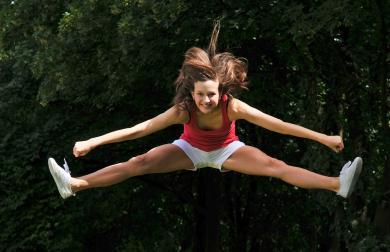 A toe touch is an advanced cheerleading jump.