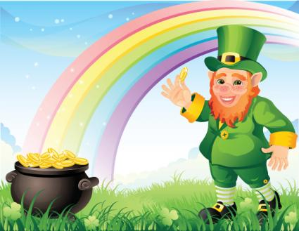 Leprechaun with a pot of gold and rainbow illustration