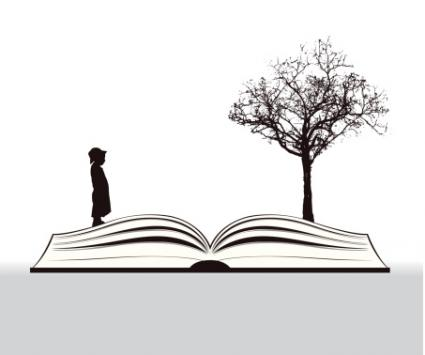 Book story with child and tree