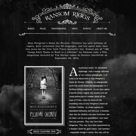 Screenshot of Ransom Riggs' website