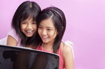child reading online