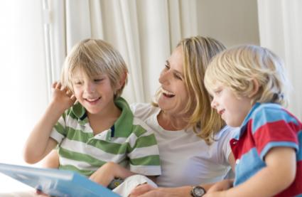 Mom and kids reading funny poems together