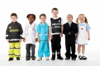Kids dressed up in career outfits.