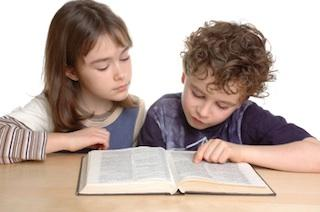 Children with dictionary
