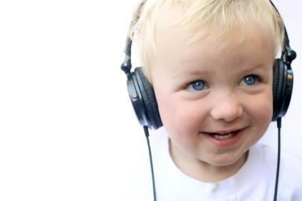 child listening to book