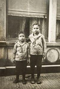 1920s boys in front of shop