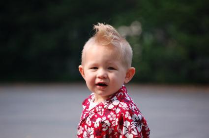 Boy in Hawaiian shirt