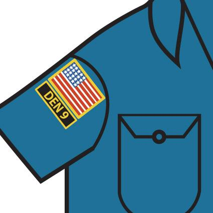 Cub scout uniform patch placement lovetoknow for Proper placement of american flag