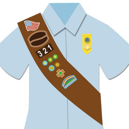 Brownie Scout patch placement image