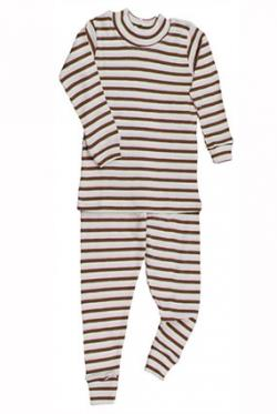 Garden Kids Clothing Cocoa & Pink Stripe Long Johns