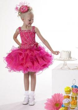 Girls Pageant Dress Tiffany 23301 Size 18-24 Month Bubblegum/Fuchsia