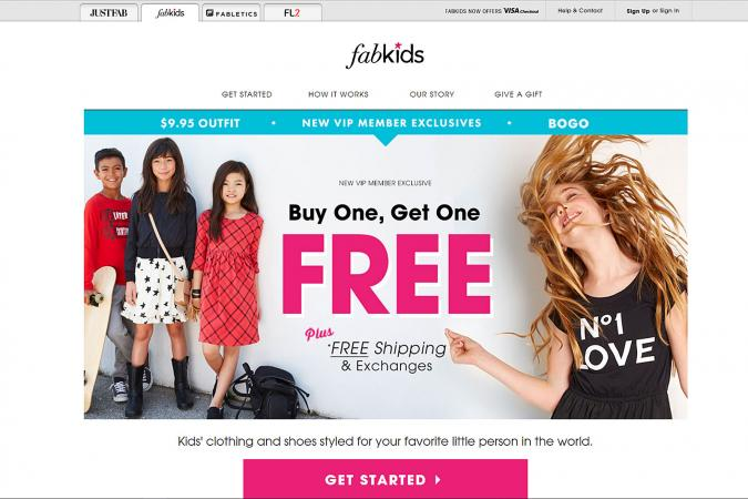 Screenshot of FabKids website