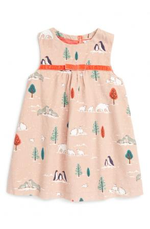 Print Corduroy Pinafore Dress