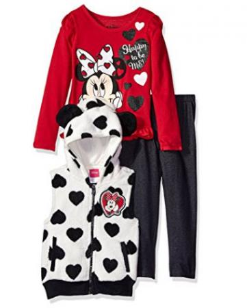 Disney Girls' 3 Piece Minnie Vest and Pant Set