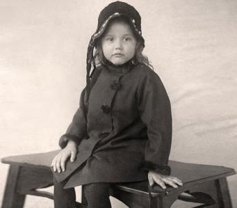 Little girl on bench