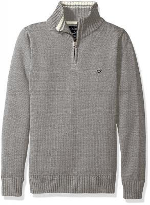 Calvin Klein Boys' Scalar Solid Half Zip Sweater