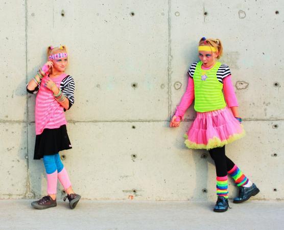 girls in 80s attire.