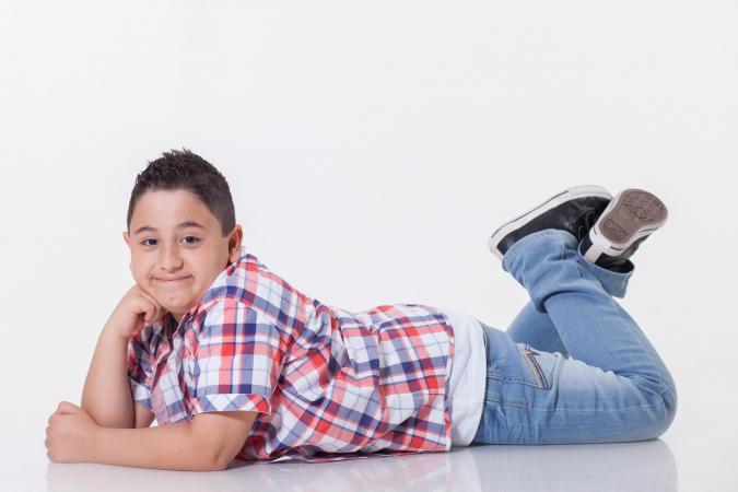 boy wearing blue jeans