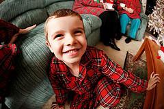 boy in plaid pajamas