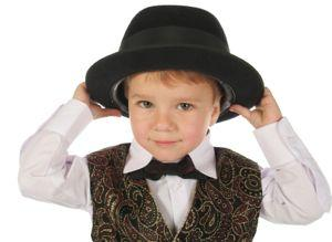 little boy in brocade vest and hat