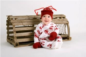 baby in lobster clothing