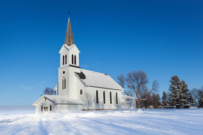 snowy church and xmas - photo #8