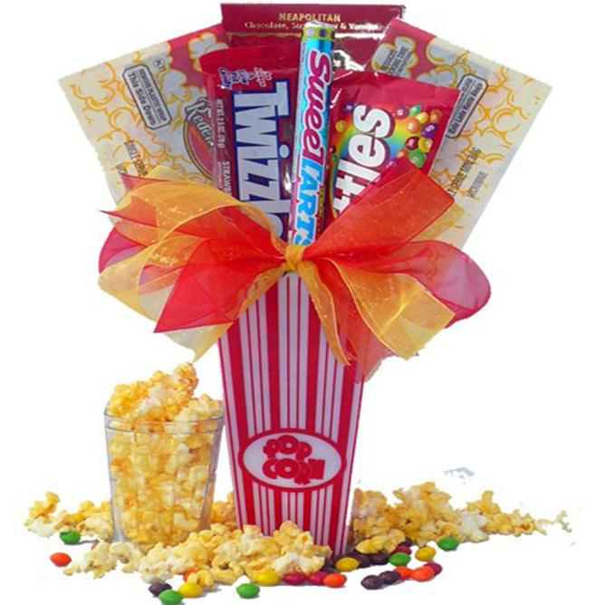 Popcorn Gift Baskets For Christmas: Green snowflake cone popcorn ...