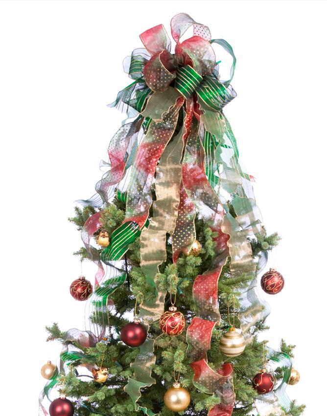 Decorating a Christmas Tree With Ribbon