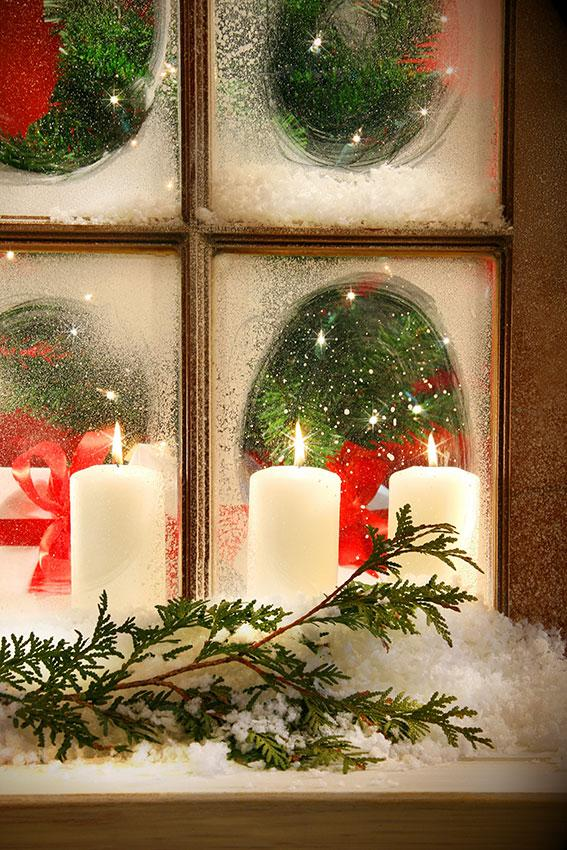 frosted window and candles - Christmas Candle Lights For Windows