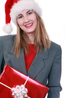 employee with Christmas gift